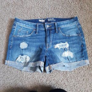 Mossimo Distressed Mid Rise Jean Shorts